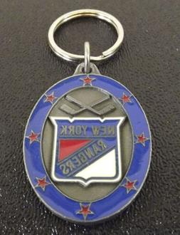 Collectible Solid Pewter Enameled Keychain NHL New York Rang