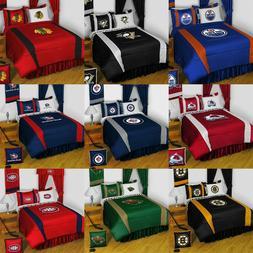 NHL HOCKEY LOGO BEDDING SET - Sports Team Bed Comforter Shee