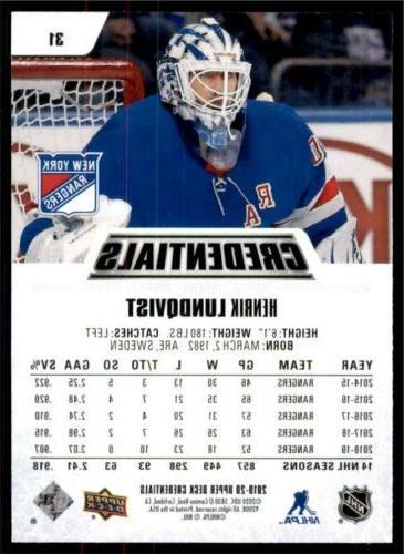 2019-20 Credentials Henrik Lundqvist York