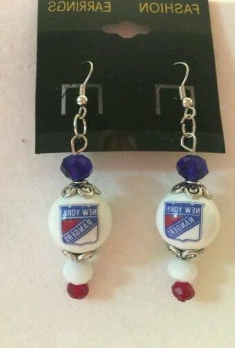 new york rangers earrings glass beaded hockey
