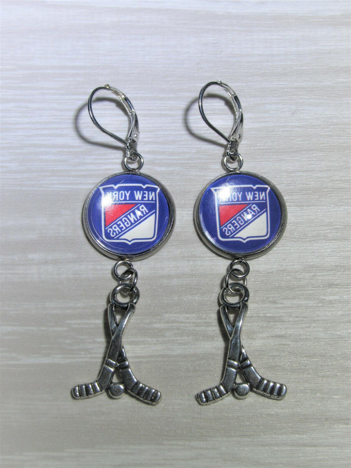 new york rangers earrings with hockey charm