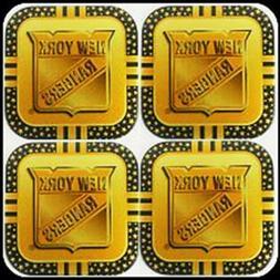 New York Rangers 4-Pack PREMIUM METAL Gold Beverage Coaster
