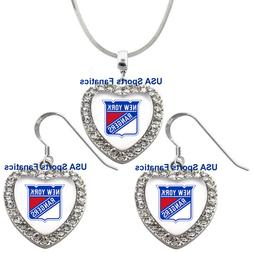 New York Rangers 925 Necklace / Earrings or Set Team Heart W