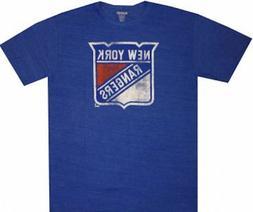 New York Rangers Reebok Blue Tri Blend Logo T Shirt Closeout