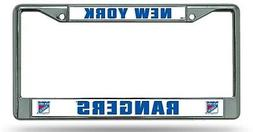 New York Rangers BOLD Design Chrome Frame Metal License Plat