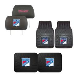 New York Rangers Car Truck Front Rear Floor Mats Set & Head