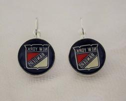 New York Rangers Earrings made from Hockey Trading Cards Gre