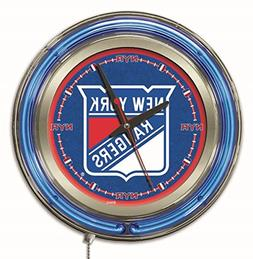 New York Rangers HBS Neon Blue Hockey Battery Powered Wall C