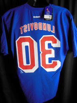 New York Rangers Lundqvist # 30 Men's Reebok Jersey Tee Shir