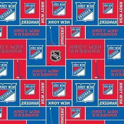 New York Rangers NHL Box Design Cotton Fabric-$8.99/yard
