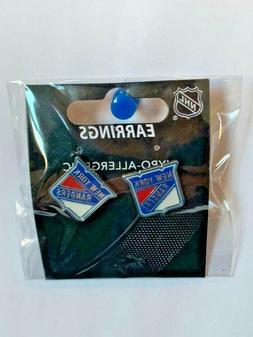 New York Rangers NHL Silver Post Stud Earrings Charm Logo