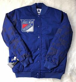 New York Rangers STARTER Retro Satin Snap Jacket, Blue, Men'