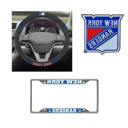 New York Rangers Steering Wheel Cover, License Plate Frame,