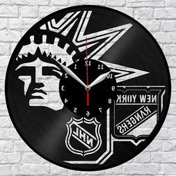 New York Rangers Vinyl Record Wall Clock Fan Art Home Decor