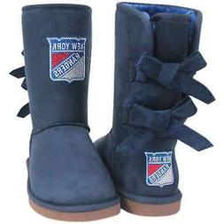 New York Rangers Cuce Women's Patron Bow Boots - Navy