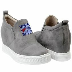 New York Rangers Cuce Women's Snap Slip-On Shoes - Gray