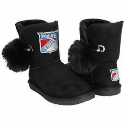 New York Rangers Cuce Women's The Fumble Faux Fur Boots - Bl