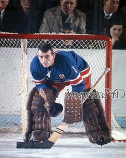 NHL 1960's New York Rangers Goalie Ed Giacomin Game Action C