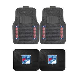 NHL New York Rangers 2-Pc & 4-Pc Deluxe Floor Car Truck Mat