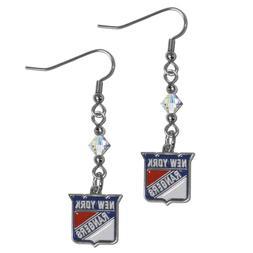 NHL New York Rangers Crystal Dangle Earrings Set J Hook Char