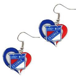 NHL New York Rangers Team Logo Swirl Heart Earring Sports Fa