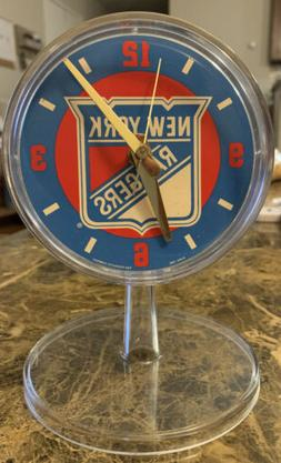 "TAKANE QUARTZ New York Rangers Logo on 4.5"" Round Clock Fo"